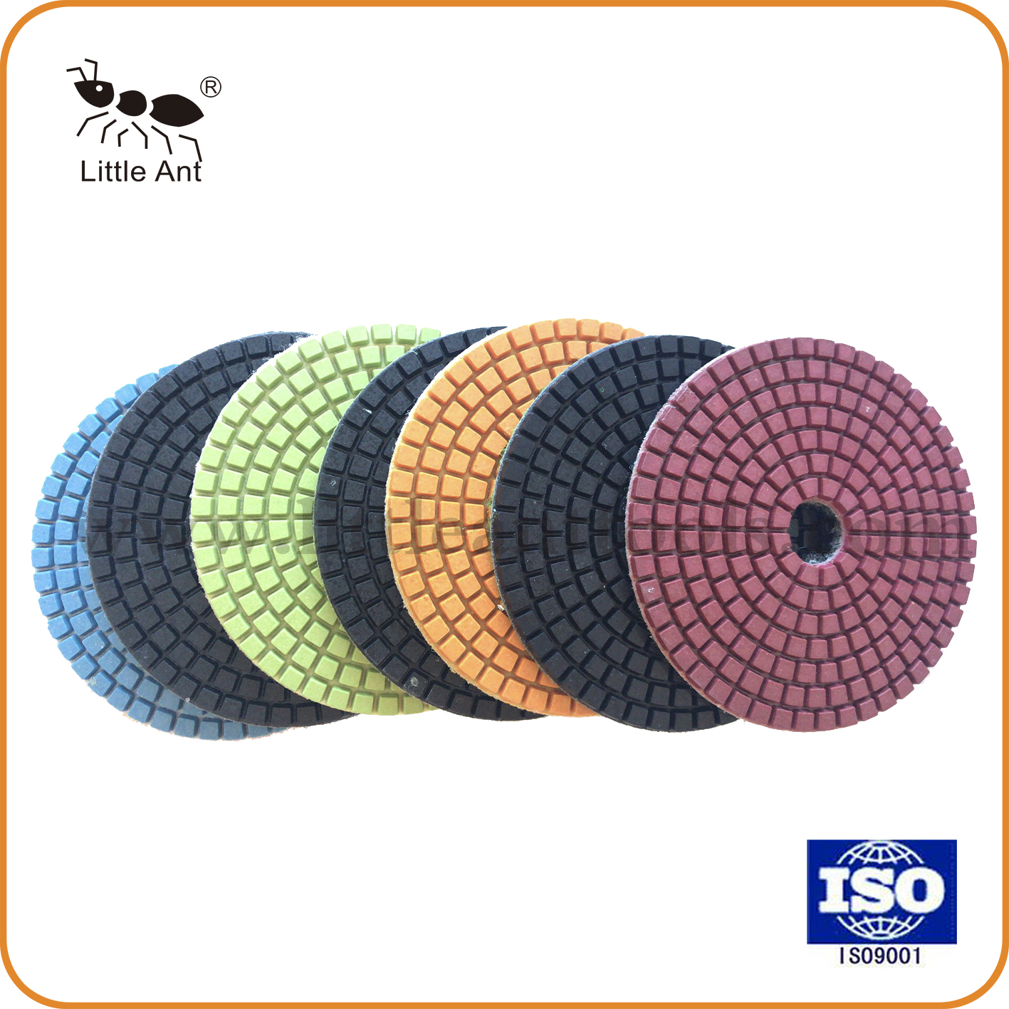 Squre Wet Polishing Pad 7 Steps for Engineered Stone Hot Pressed Diamond Stone